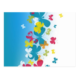 Colorful weave of butterflies postcard
