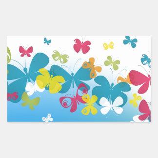 Colorful weave of butterflies rectangular sticker