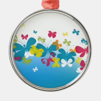 Colorful weave of butterflies Silver-Colored round decoration