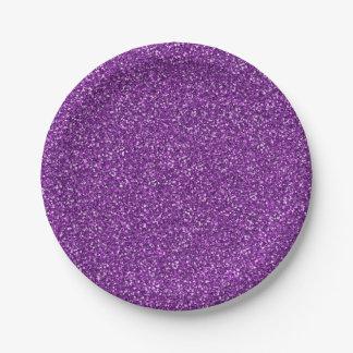 Colorful Wedding Anniversary Purple Glitter Paper Plate