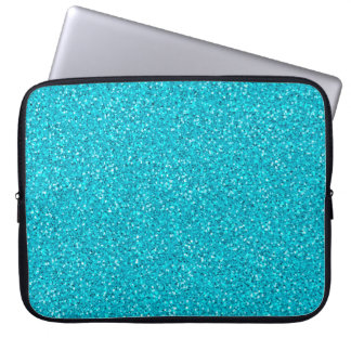 Colorful Wedding Anniversary Teal Glitter Laptop Sleeve