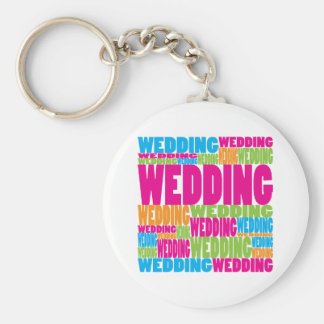 Colorful Wedding Basic Round Button Key Ring