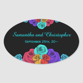 Colorful wedding roses on black personalized oval sticker