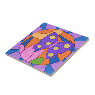 Colorful Whimsical Butterfly Ceramic Tile Art Small Square Tile