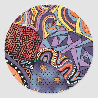 Colorful Whimsical Doodle Abstract Pattern Classic Round Sticker