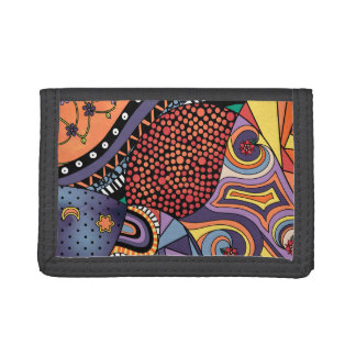 Colorful Whimsical Doodle Abstract Pattern Tri-fold Wallet