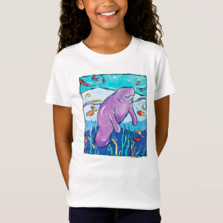 Colorful, whimsical manatee t-shirt
