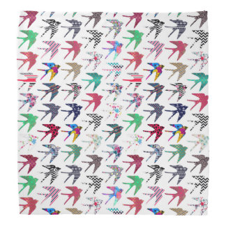 Colorful whimsical  swallow birds pattern head kerchiefs