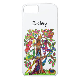 Colorful Whimsical Tree Exotic Birds Monogram Name iPhone 8/7 Case