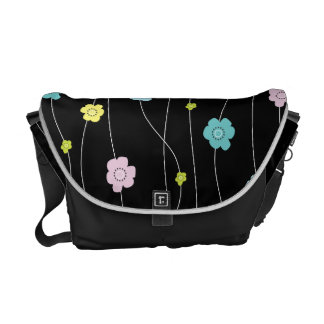 Colorful Whimsy Flower Vines Pastel Courier Bags