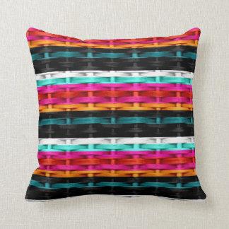 Colorful wicker retro graphic design throw cushion