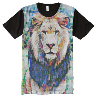 Colorful Wild African Lion Post Impressionist Pain All-Over Print T-Shirt