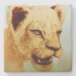 Colorful Wild Animal - Lion, Stone Coaster
