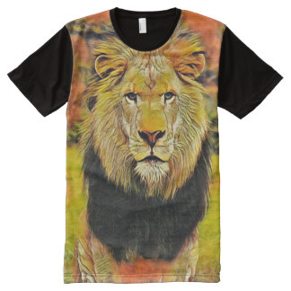 Colorful Wild Lion Acrylic Paint Art All-Over Print T-Shirt