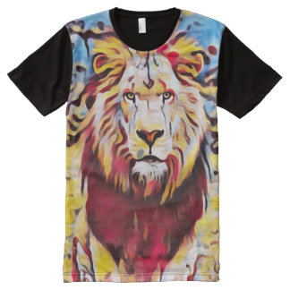 Colorful Wild Lion Airbrush Graffiti Street Art All-Over Print T-Shirt