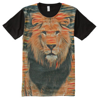 Colorful Wild Lion Colored Chalk Art All-Over Print T-Shirt