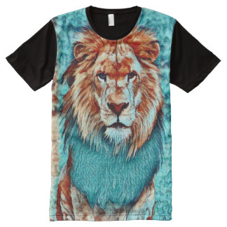 Colorful Wild Lion Fantasy Acrylic Art All-Over Print T-Shirt