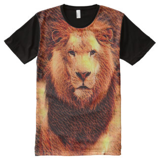 Colorful Wild Lion Fractal Art All-Over Print T-Shirt