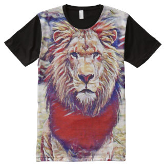 Colorful Wild Lion Gouache Medium Art All-Over Print T-Shirt