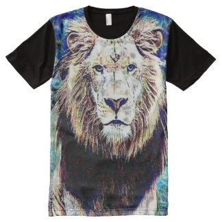 Colorful Wild Lion Grunge Art All-Over Print T-Shirt