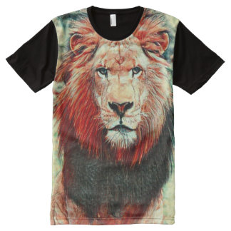 Colorful Wild Lion Heart of Africa Art All-Over Print T-Shirt