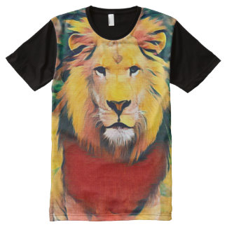 Colorful Wild Lion Minimalist Acrylic Paint All-Over Print T-Shirt