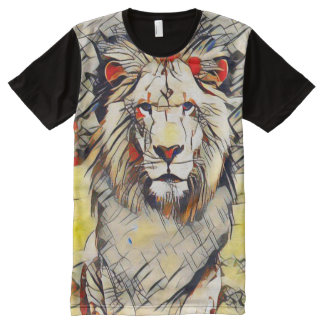 Colorful Wild Lion Modern Wildlife Abstract Art All-Over Print T-Shirt