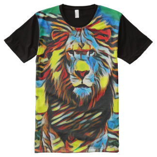 Colorful Wild Lion of Judah Oil Paint All-Over Print T-Shirt