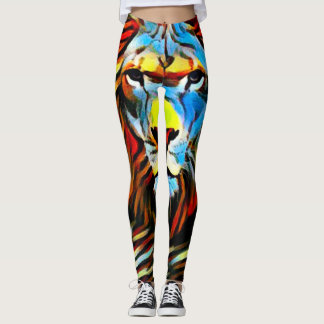 Colorful Wild Lion of Judah Oil Paint Leggings