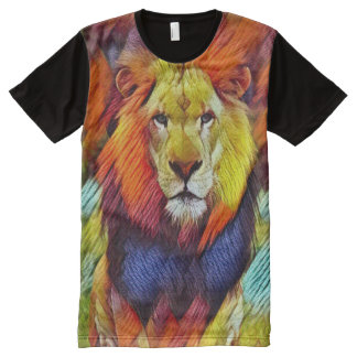 Colorful Wild Lion Texture Art All-Over Print T-Shirt