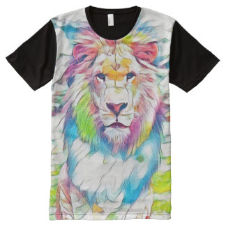 Colorful Wild Lion Watercolor Pencil Fantasy Art All-Over Print T-Shirt