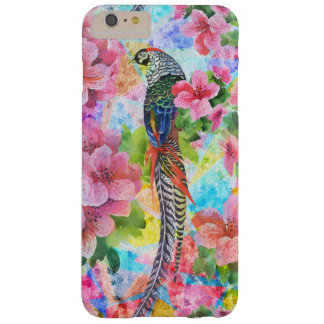 Colorful Wild Pheasant With Pink Flowers Barely There iPhone 6 Plus Case