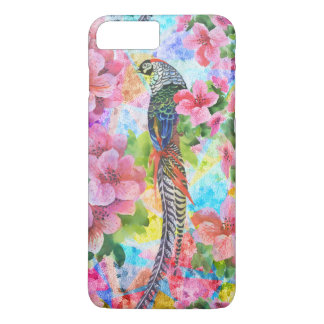 Colorful Wild Pheasant With Pink Flowers iPhone 7 Plus Case