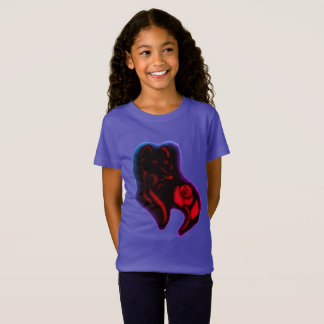 COLORFUL WILD ROSE WILD WOLF ART PRINT GIRLS SHIRT