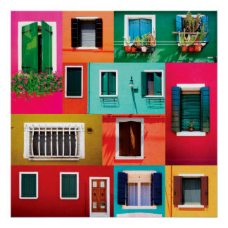 Colorful windows collection Burano island in Italy Poster