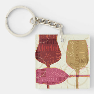 Colorful Wine Glasses Key Ring