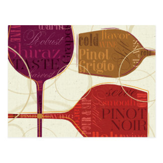 Colorful Wine Postcard