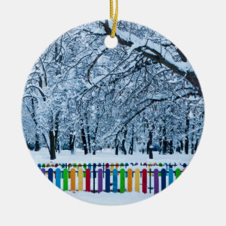 Colorful Winter Fence Christmas Ornament