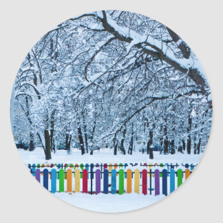 Colorful Winter Fence Classic Round Sticker