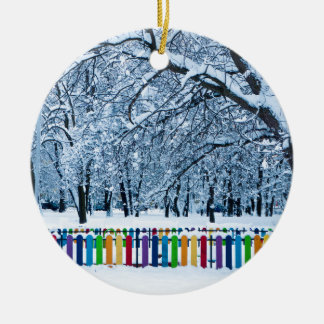 Colorful Winter Fence Round Ceramic Decoration