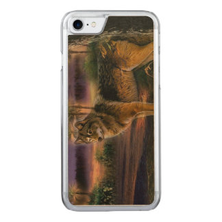 Colorful wolf in the forest carved iPhone 8/7 case