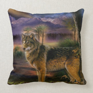 Colorful wolf in the forest cushion
