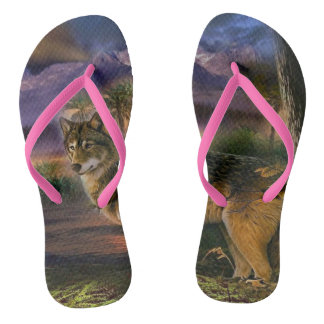 Colorful wolf in the forest flip flops