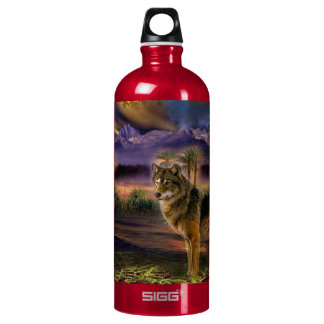 Colorful wolf in the forest water bottle