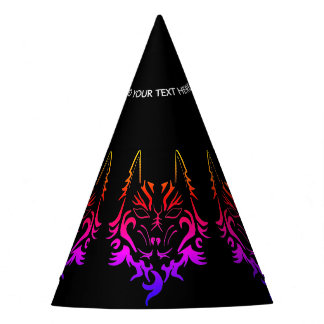 COLORFUL WOLF TATTOO ART PRINT FOR PARTY HATS