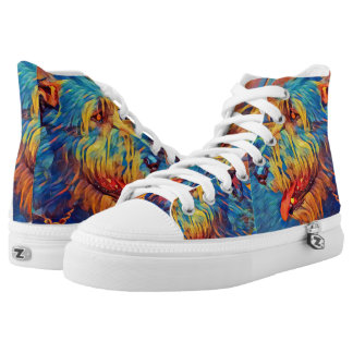 Colorful Wolfhound Profile  Hi-Top tennis shoes Printed Shoes