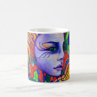 Colorful Woman's Face Graffiti in Vinnitsa Ukraine Basic White Mug