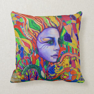 Colorful Woman's Face Graffiti in Vinnitsa Ukraine Cushion