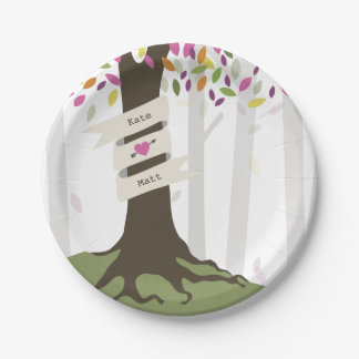 Colorful Woodland Wedding 7 Inch Paper Plate