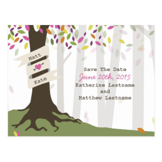 Colorful Woodland Wedding Save The Date Postcard